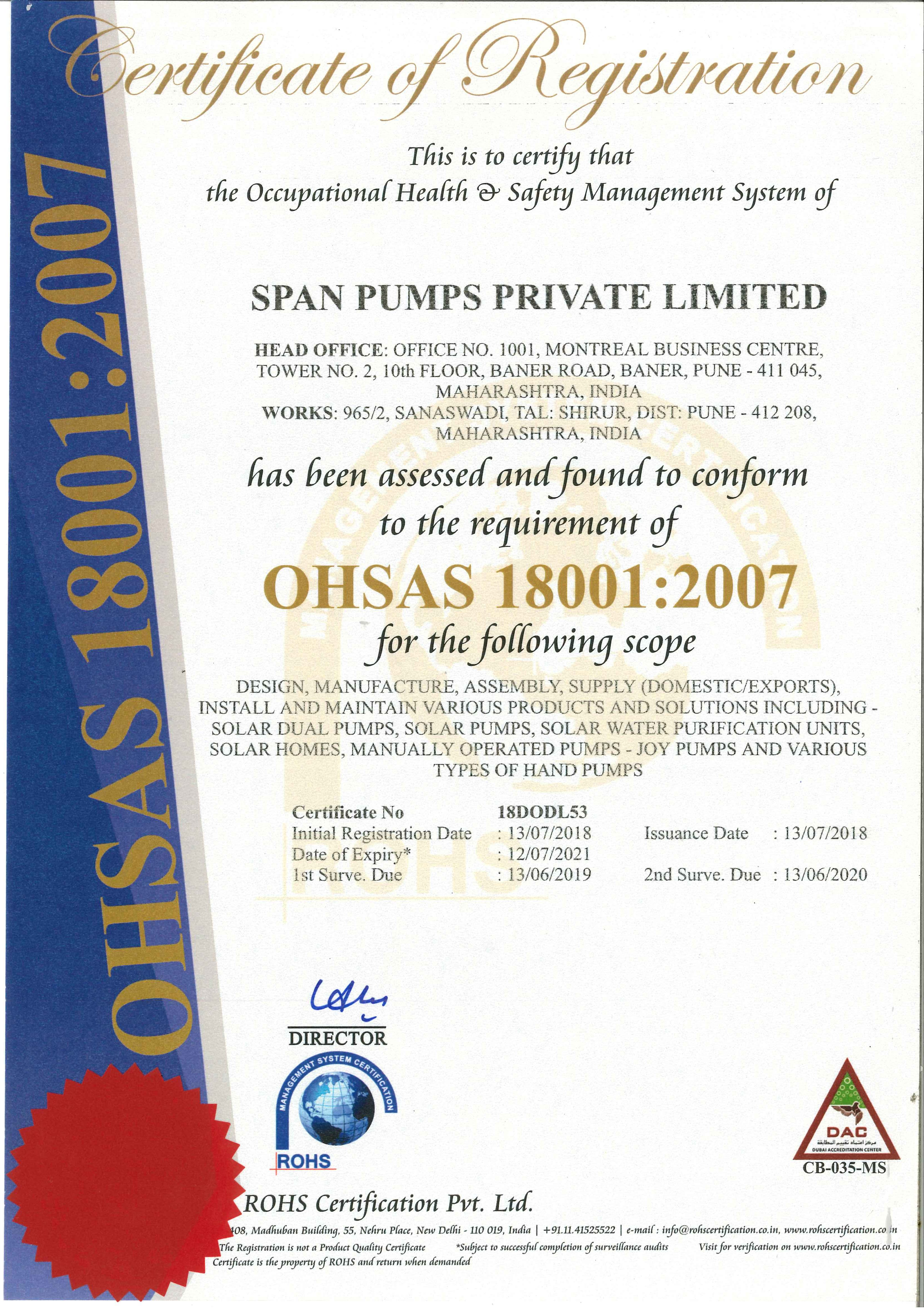 Certificates And Awards Spanpumps India